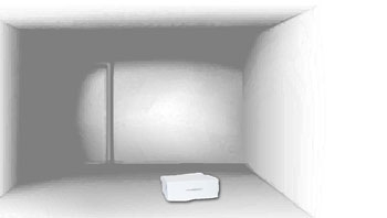 Empty white room with small white box