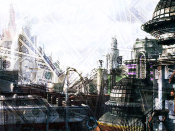 Futuristic city with superimposed money