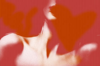 Abstract woman against red background with heart