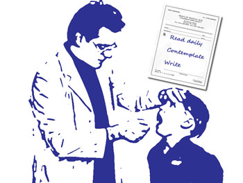 Boy examined by doctor, with prescription to read, contemplate and write