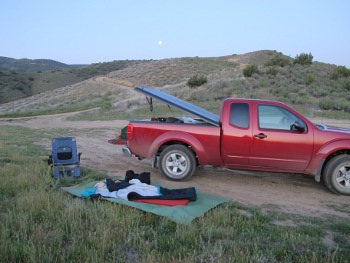 Campsite with woman backpacker