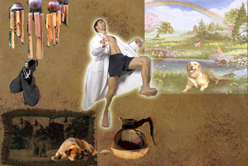 Collage of wolf blanket, slippers, czar, dog, coffee pot, man in bathrobe and heaven