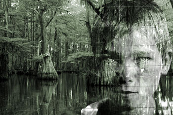 Swamp with superimposed boy