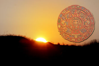 Sunrise with Mayan calendar