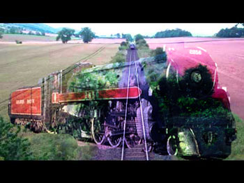Steam engine superimposed over train tracks