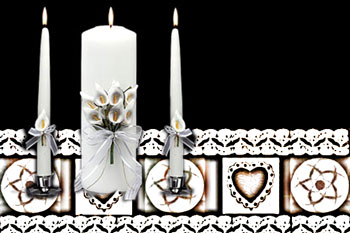 Unity candle on lace runner with hearts and patterns from Indian baskets