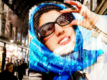 Woman in headscarf and sunglasses in Syrian market