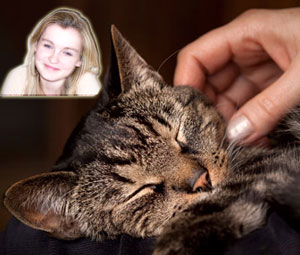 Cat being petted with superimposed young woman