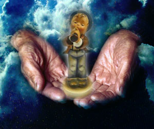 Old woman's hands with figurine over cloud background