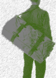 Soldier with duffel bag in olive drab