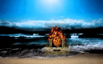 Flaming computer in ocean