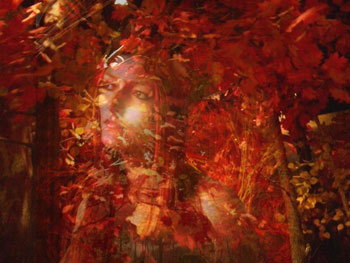 Autumn scene with superimposed goddess