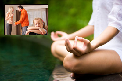 Woman meditating with inset of arguing family