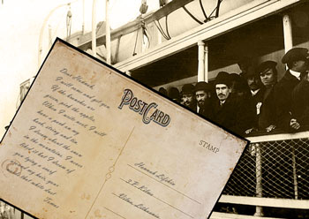 Immigrants on boat with postcard