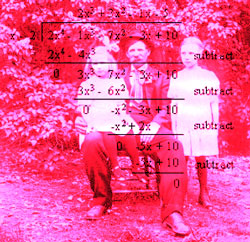 Historic photo of man with daughters, with long division overlaid