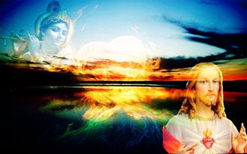 Sunset with Krishna and Jesus