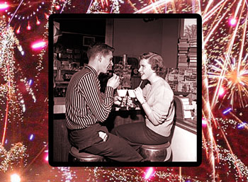 1950s teens at soda fountain, with firework border