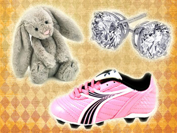 Bunny, pink cleat and diamond earrings