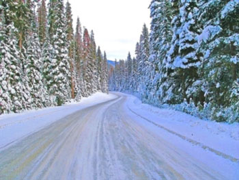 Snowy road with blur