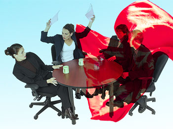 Angry office workers with superimposed red cape