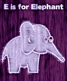 Purple page saying 'E is for Elephant' with an elephant