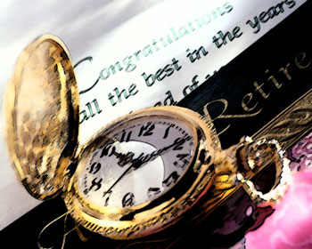 Pocketwatch and retirement banner