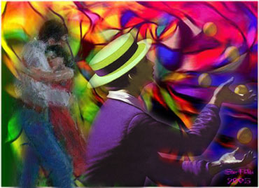 Dancers and juggler on colorful background
