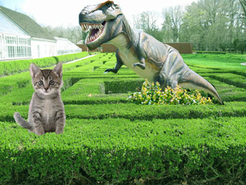 Hedge maze with kitten and dinosaur