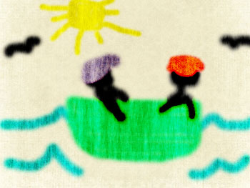 Child-like drawing of stick figures in boat