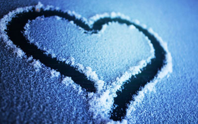 Heart written in snow