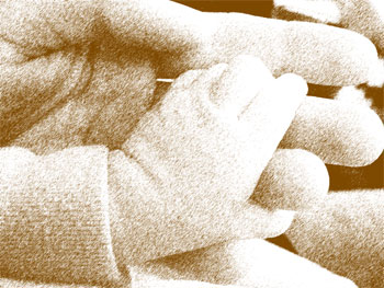Adult hand holding baby hand, with sketch filter