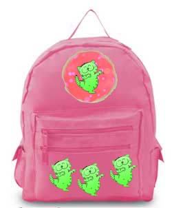 Pink backpack with green kittens