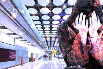 Woman crying in airport with superimposed fractal