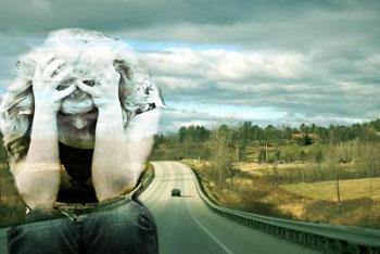 Sad girl with road landscape