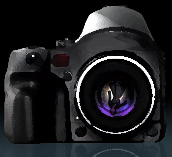 Camera with woman in lens