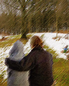 Couple looking at melting snow