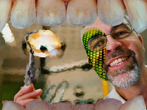 Dentist with reptilian skin