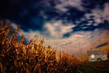 Corn field & farm house at night