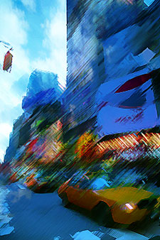 Painterly Times Square with neon signs