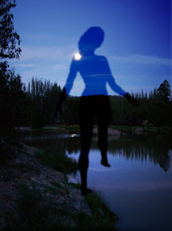 Silhouette by moonlit pond