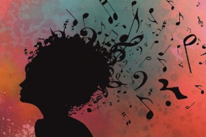 Woman with music notes coming out of hair