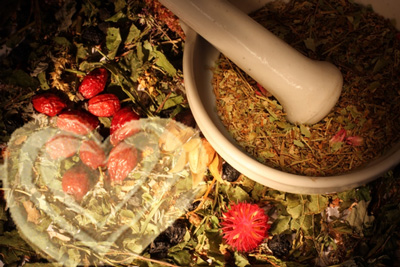 Herbs and superimposed heart
