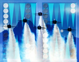 Blue Angels in formation superimposed over backgammon board.
