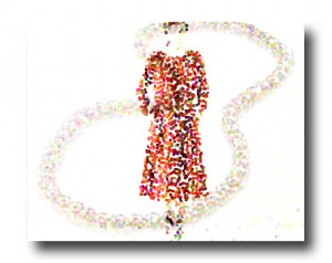 A pixellated woman in a 1960s silhouette dress, with superimposed pearls.