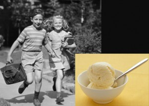 1950s boy and girl running with bowl of ice cream