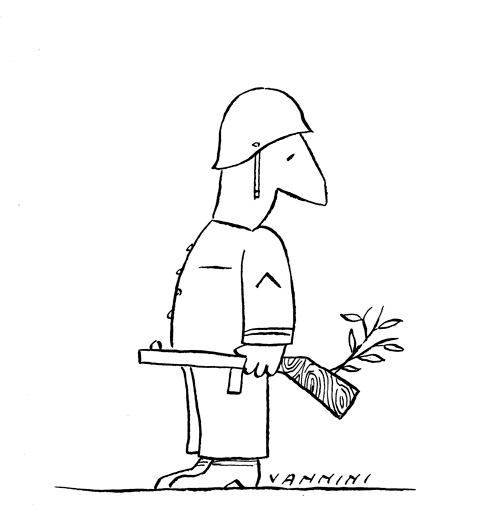Cartoon of soldier with olive branch growing out of gun