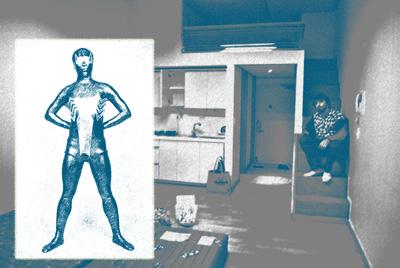 Spandex Spider hero superimposed over small apartment.