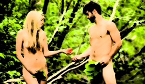 Eve handing Adam an apple, with paint effect