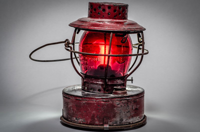 Antique lantern with red light