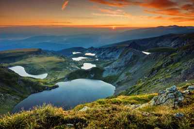 Seven small lakes in the Rila Mountains